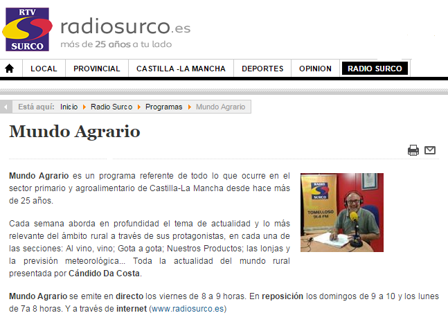 Captura web programa Mundo Agrario de Radio Surco